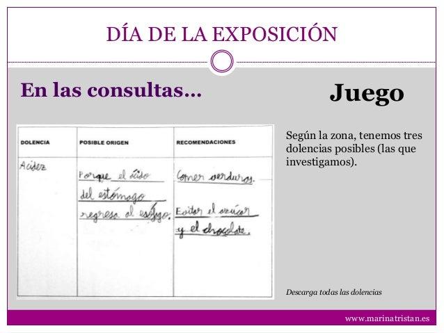 DÍA DE LA EXPOSICIÓN En las consultas… Juego Según la zona, tenemos tres dolencias posibles (las que investigamos). Descar...