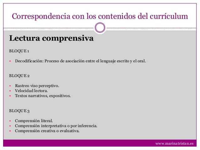 Correspondencia con los contenidos del currículum BLOQUE 1  Decodificación: Proceso de asociación entre el lenguaje escri...