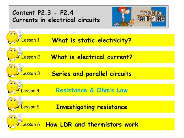 Content P2.3 - P2.4 Currents in electrical circuits Lesson 1  What is static electricity?  Lesson 2  What is electrical cu...