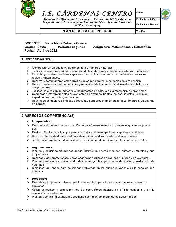 I.E. CÁRDENAS CENTRO                                                    Código:                   Aprobación Oficial de Es...