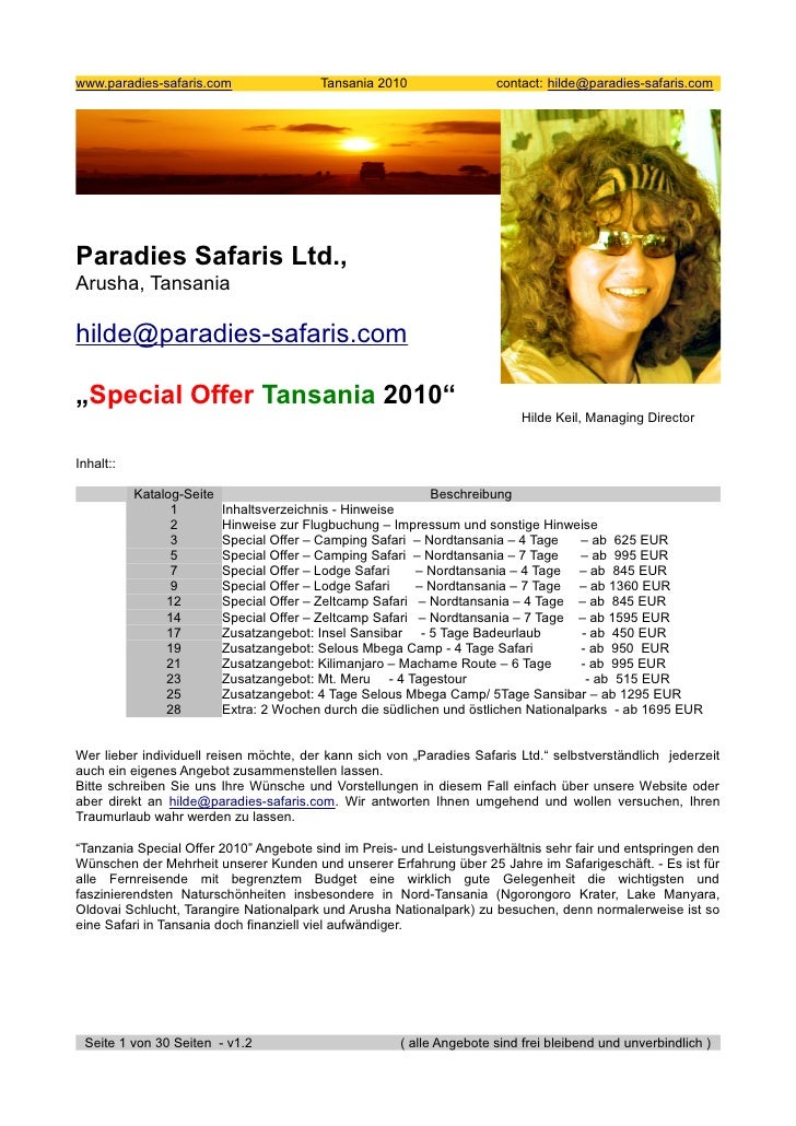 www.paradies-safaris.com                  Tansania 2010                contact: hilde@paradies-safaris.com     Paradies Sa...