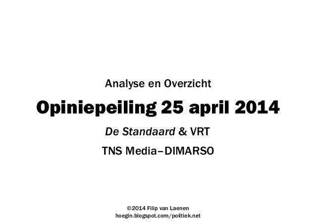 Opiniepeiling 25 april 2014 TNS Media–DIMARSO ©2014 Filip van Laenen hoegin.blogspot.com/politiek.net Analyse en Overzicht...