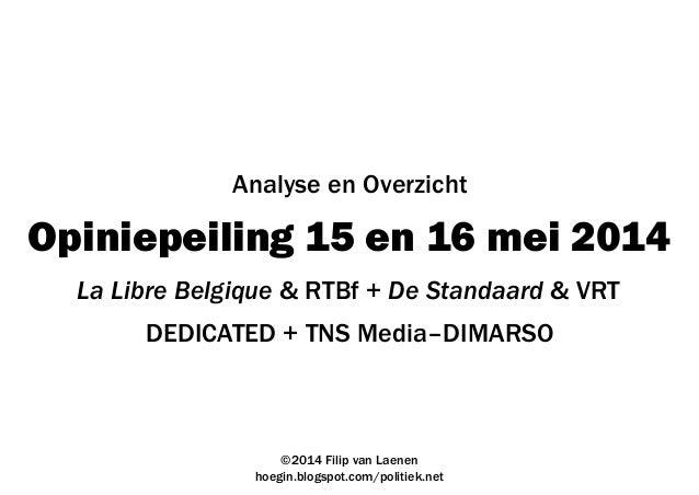 Opiniepeiling 15 en 16 mei 2014 DEDICATED + TNS Media–DIMARSO ©2014 Filip van Laenen hoegin.blogspot.com/politiek.net Anal...