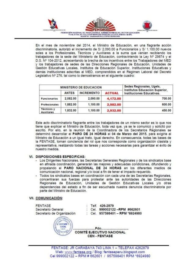 SOLICITUD A DIRECTORES - PARO 4 DE MARZO 2015 -FENTASE