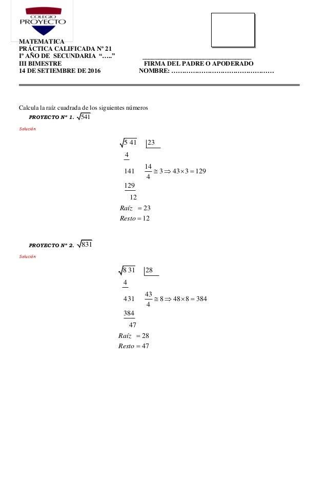 P21 operaciones combinadas y raíz cuadrada solución