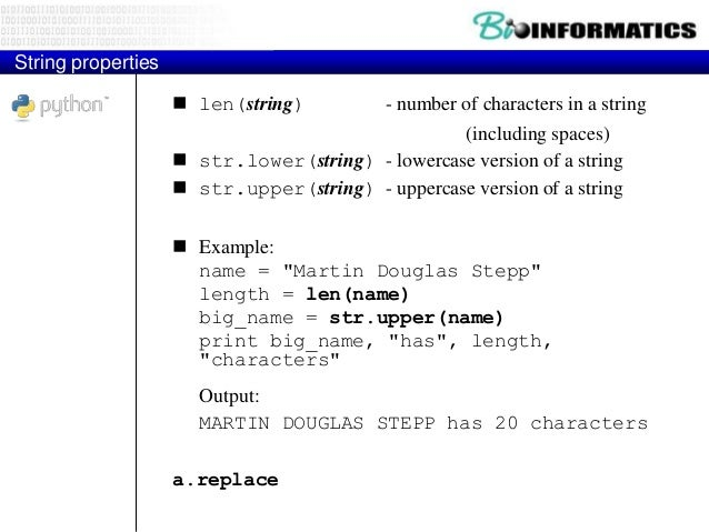 Text processing  text processing: Examining, editing, formatting text.  often uses loops that examine the characters of ...