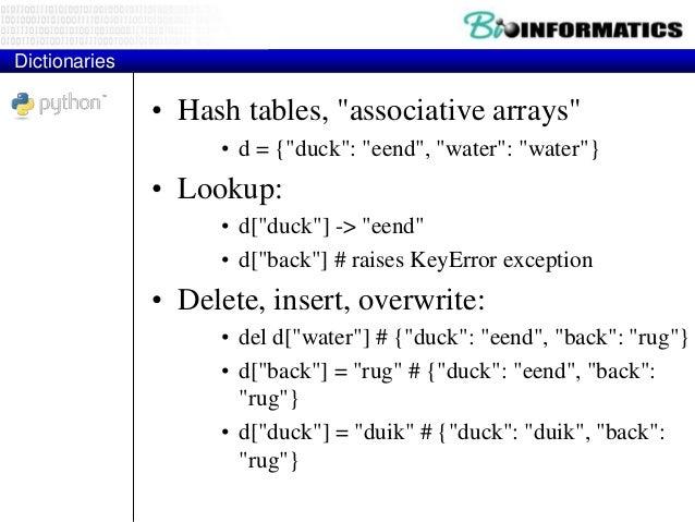 "More Dictionary Ops • Keys, values, items: • d.keys() -> [""duck"", ""back""] • d.values() -> [""duik"", ""rug""] • d.items() -> [..."