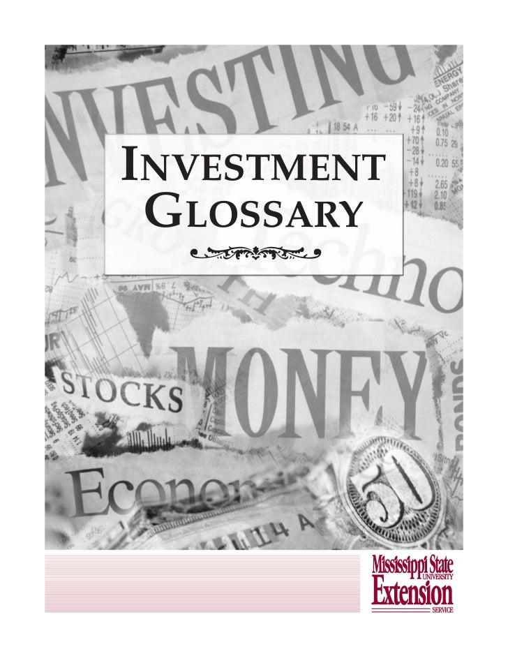 INVESTMENT GLOSSARY