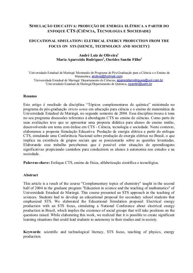 SIMULAÇÃO EDUCATIVA: PRODUÇÃO DE ENERGIA ELÉTRICA A PARTIR DO          ENFOQUE CTS (CIÊNCIA, TECNOLOGIA E SOCIEDADE)   EDU...