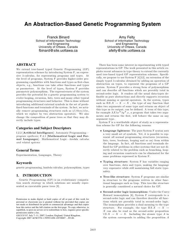 An Abstraction-Based Genetic Programming System                                    Franck Binard                          ...