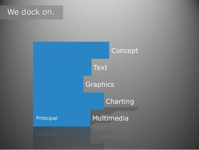 We dock on.  Concept Text Graphics Charting Principal  Multimedia