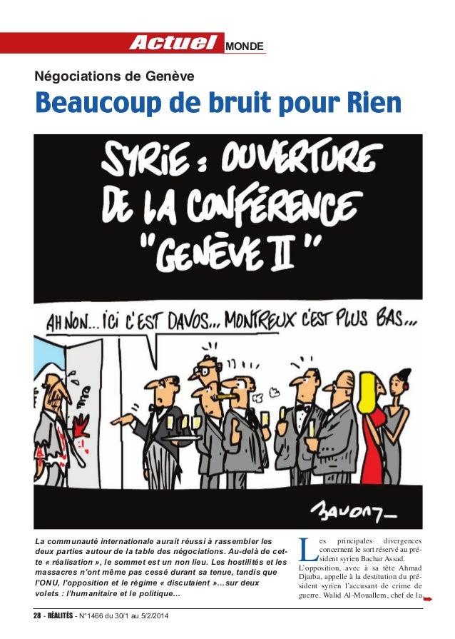 Actuel  MONDE  Négociations de Genève  Beaucoup de bruit pour Rien  La communauté internationale aurait réussi à rassembl...