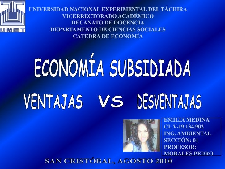 UNIVERSIDAD NACIONAL EXPERIMENTAL DEL TÁCHIRA<br />VICERRECTORADO ACADÉMICO<br />DECANATO DE DOCENCIA<br />DEPARTAMENTO DE...