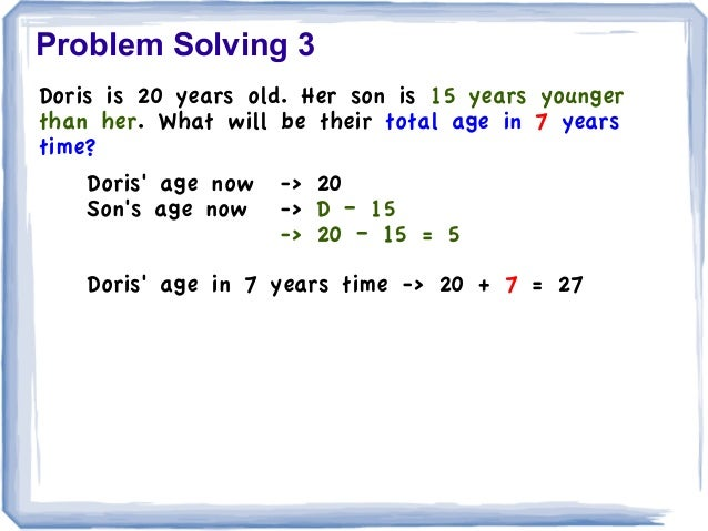 problem solving and age care 29 problem-solving ability in elementary school-aged children with hearing impairment perspective involves the execution of a task or action by a person.