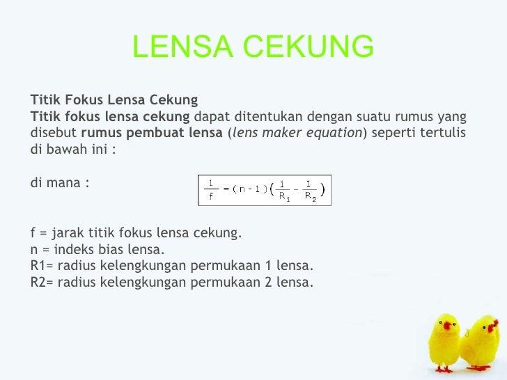 LENSA CEKUNG <ul><li>Titik Fokus Lensa Cekung   </li></ul><ul><li>Titik fokus lensa cekung  dapat ditentukan dengan suatu ...