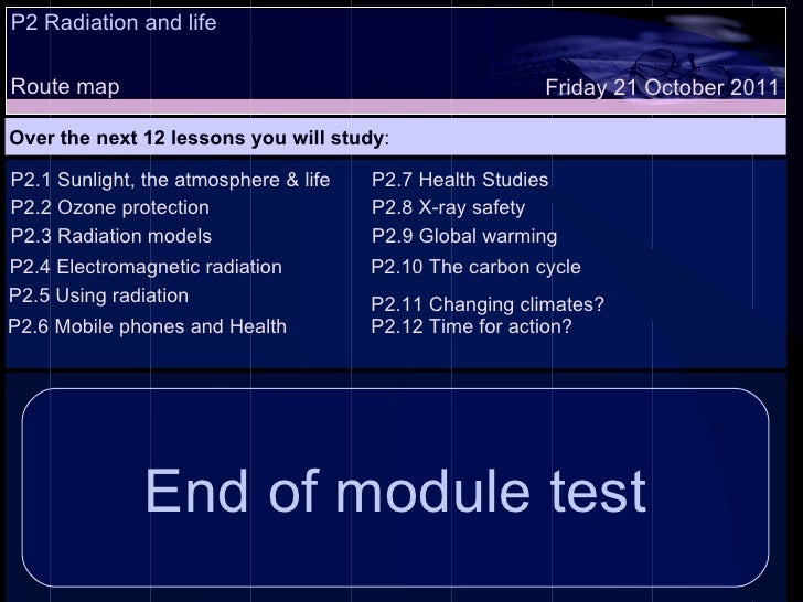 P2 Radiation and life Route map Over the next 12 lessons you will study : Friday 21 October 2011 P2.1 Sunlight, the atmosp...