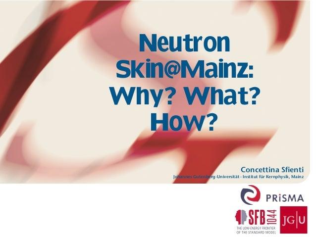 Concettina Sfienti Johannes Gutenberg-Universität - Institut für Kernphysik, Mainz Neutron Skin@Mainz: Why? What? How?