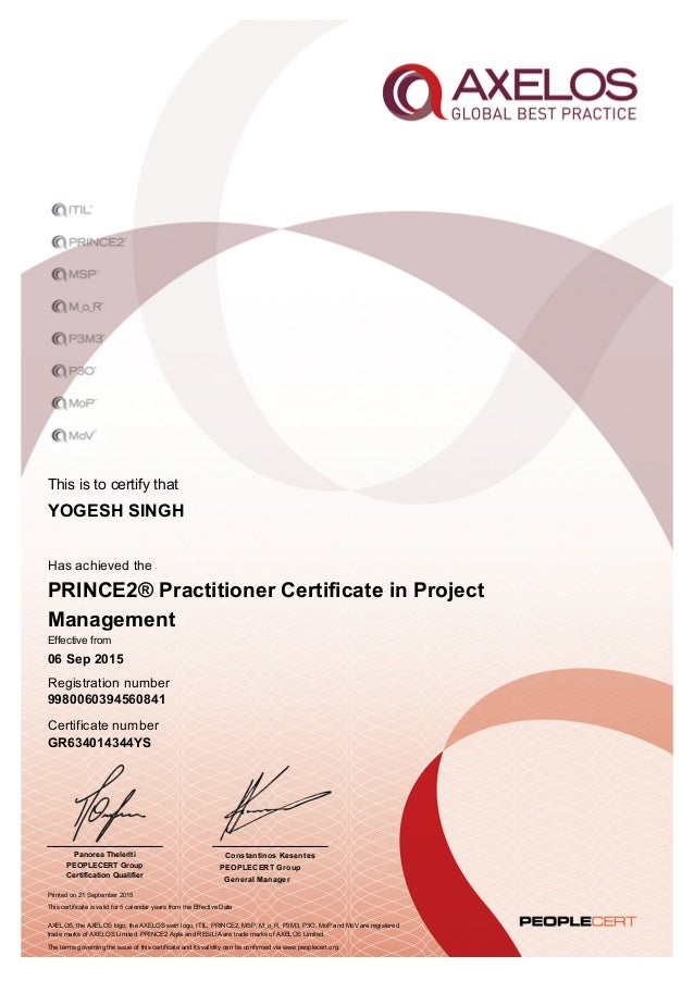 Prince2 Practitioner Certificate In Project Management
