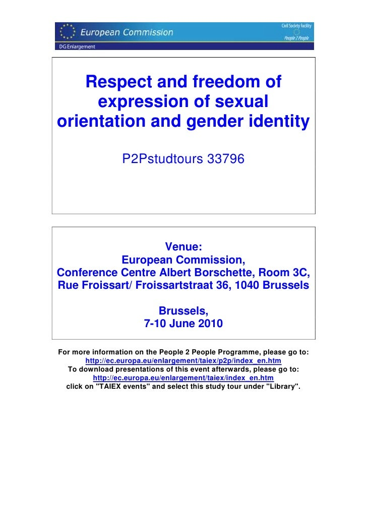 Respect and freedom of      expression of sexual orientation and gender identity                   P2Pstudtours 33796     ...