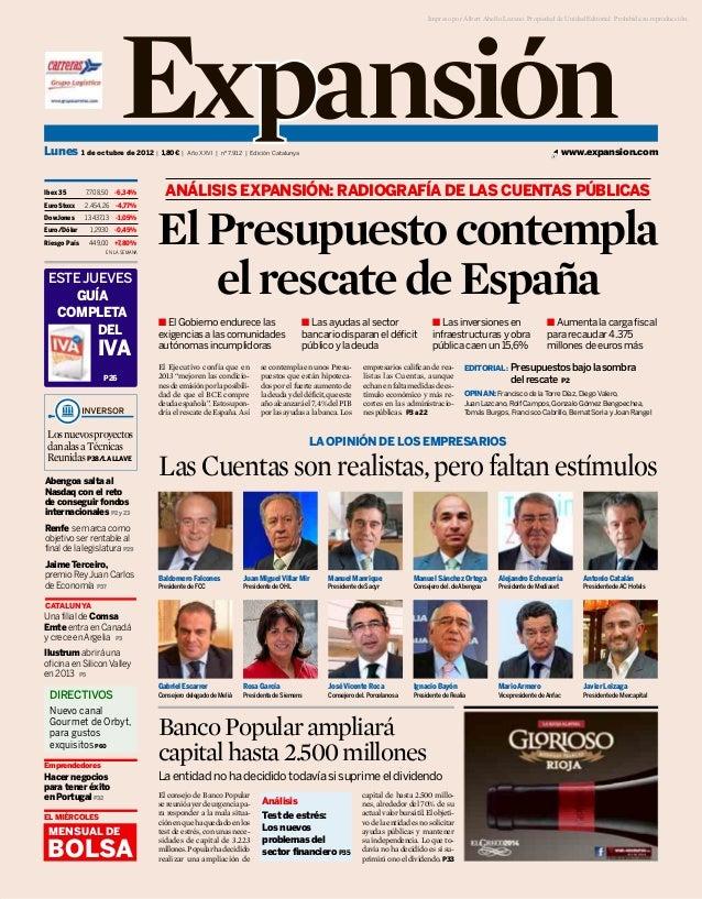 Impreso por Albert Abello Lozano. Propiedad de Unidad Editorial. Prohibida su reproducción.Lunes 1 de octubre de 2012 | 1,...