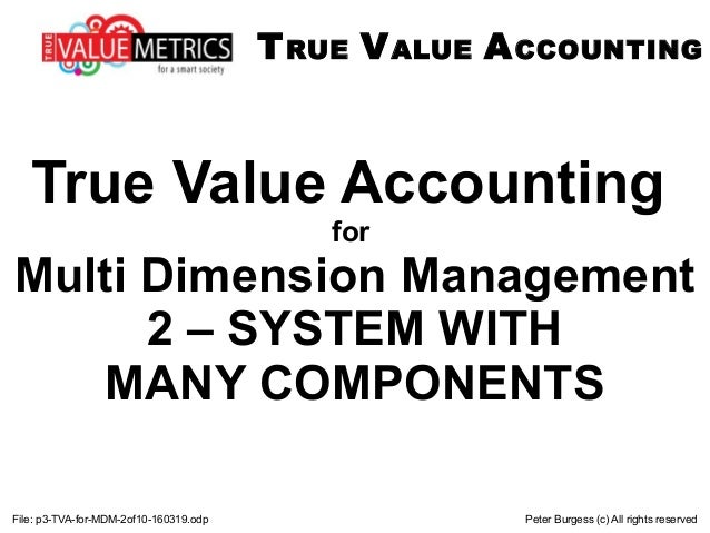 File: p3-TVA-for-MDM-2of10-160319.odp Peter Burgess (c) All rights reserved True Value Accounting for Multi Dimension Mana...