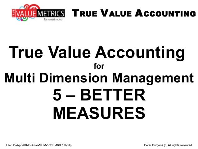 File: TVA-p3-00-TVA-for-MDM-5of10-160319.odp Peter Burgess (c) All rights reserved True Value Accounting for Multi Dimensi...