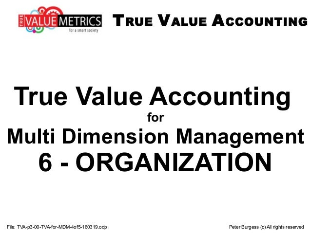 File: TVA-p3-00-TVA-for-MDM-4of5-160319.odp Peter Burgess (c) All rights reserved True Value Accounting for Multi Dimensio...