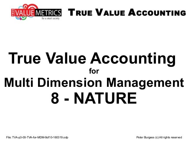 File: TVA-p3-00-TVA-for-MDM-8of10-160319.odp Peter Burgess (c) All rights reserved True Value Accounting for Multi Dimensi...