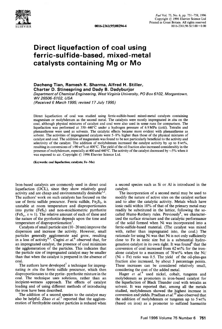 FuelVol. 75, No. 6, pp. 751-758, 1996                                                                                     ...