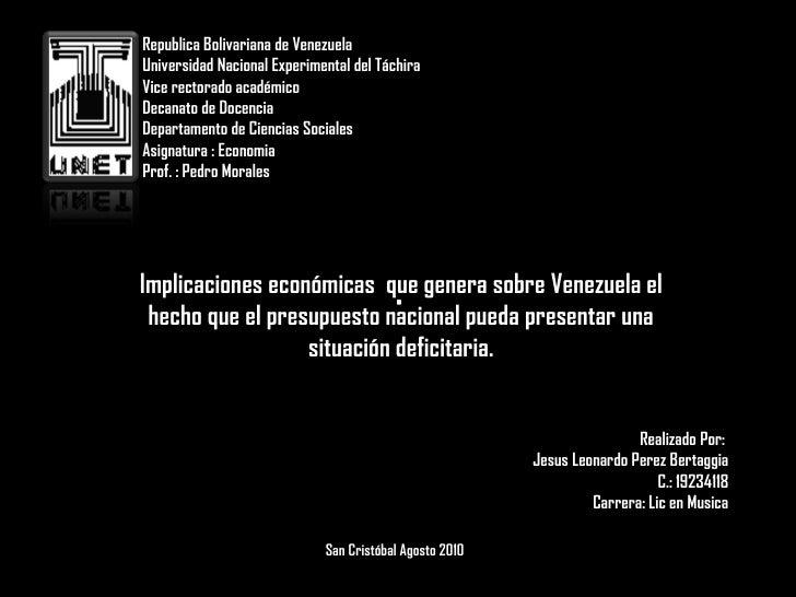Republica Bolivariana de Venezuela Universidad Nacional Experimental del Táchira Vice rectorado académico Decanato de Doce...