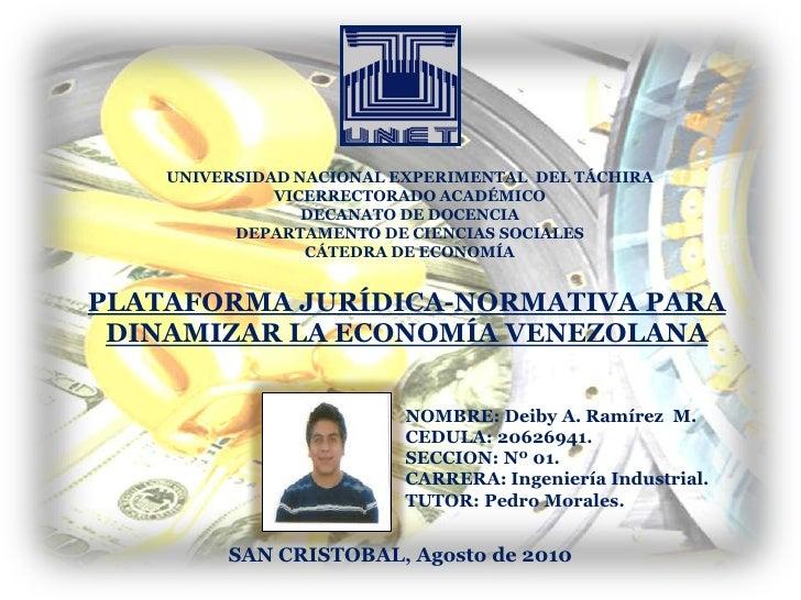 UNIVERSIDAD NACIONAL EXPERIMENTAL  DEL TÁCHIRA<br />VICERRECTORADO ACADÉMICO<br />DECANATO DE DOCENCIA<br />DEPARTAMENTO D...