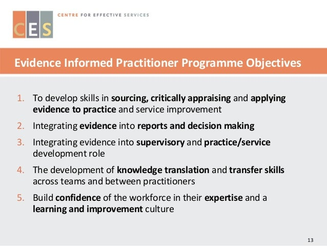 utilising evidence for practice Background: the development of acute pain services (aps), education programmes, and protocols assumed an expectation that health care professionals would integrate evidence into everyday practice however, research evidence into pain management would suggest that this is not the case.