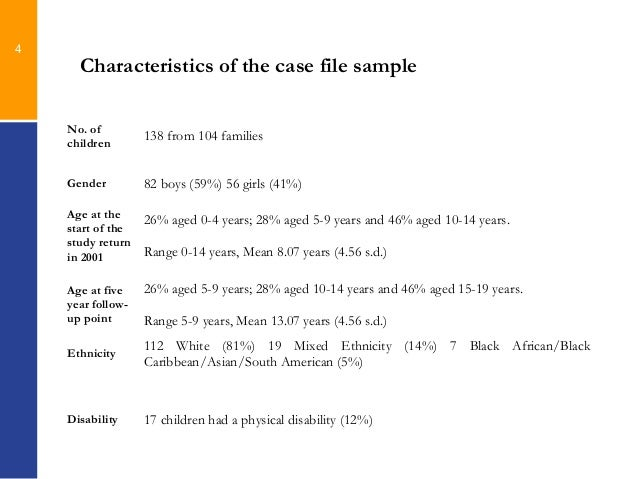 Case Management and Outcomes for Neglected Children A 5 year follow – Sample Case File