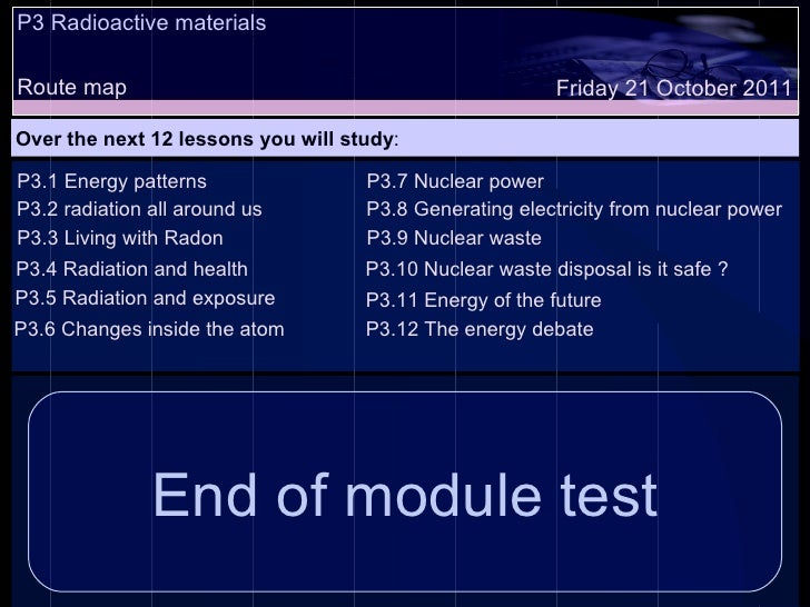 P3 Radioactive materials Route map Over the next 12 lessons you will study : Friday 21 October 2011 P3.1 Energy patterns P...