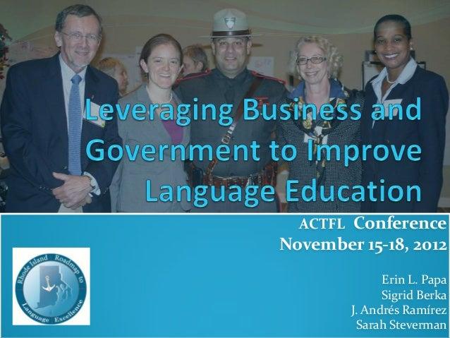ACTFL ConferenceNovember 15-18, 2012Erin L. PapaSigrid BerkaJ. Andrés RamírezSarah Steverman