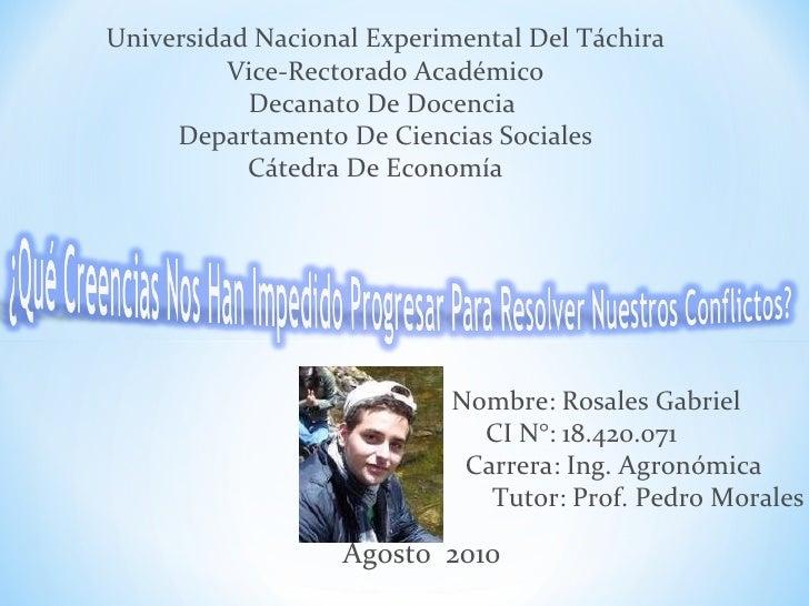 Universidad Nacional Experimental Del Táchira Vice-Rectorado Académico Decanato De Docencia  Departamento De Ciencias Soci...