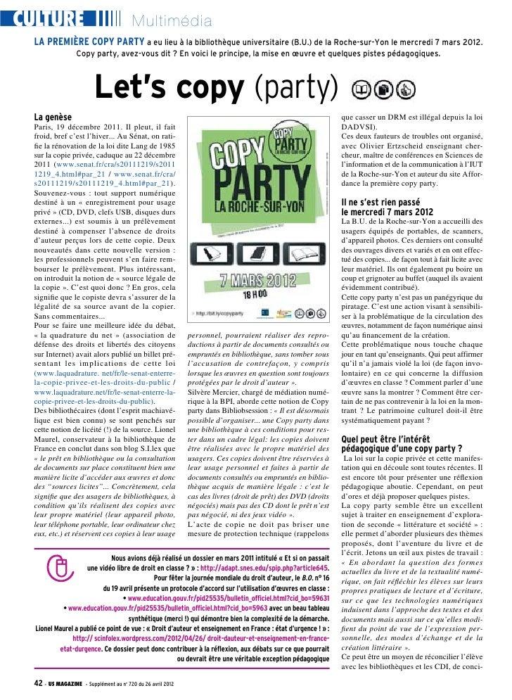 CULTURE                                  Multimédia  LA PREMIÈRE COPY PARTY a eu lieu à la bibliothèque universitaire (B.U...