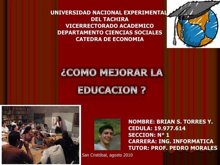 UNIVERSIDAD NACIONAL EXPERIMENTAL <br />DEL TACHIRA<br />VICERRECTORADO ACADEMICO<br />DEPARTAMENTO CIENCIAS SOCIALES<br /...