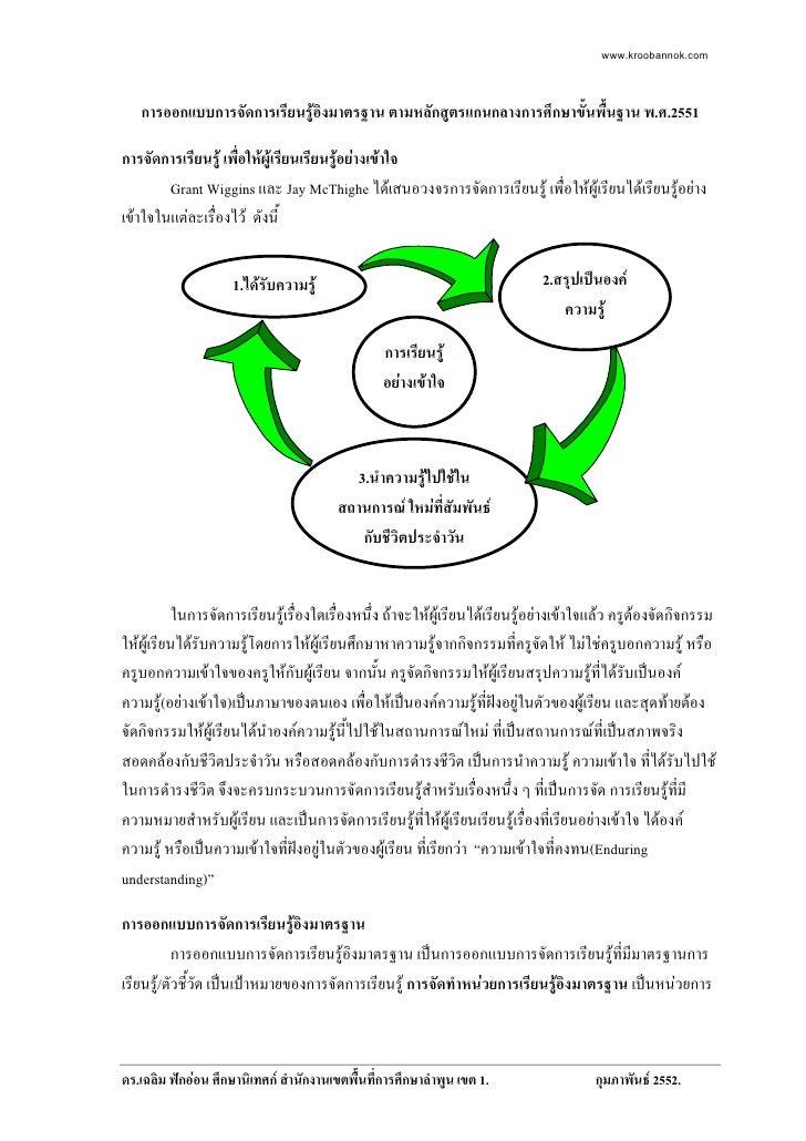 www.kroobannok.com        การออกแบบการจัดการเรียนรูอิงมาตรฐาน ตามหลักสูตรแกนกลางการศึกษาขั้นพื้นฐาน พ.ศ.2551  การจัดการเร...