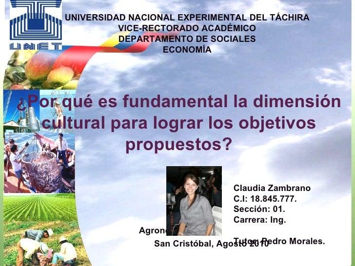 UNIVERSIDAD NACIONAL EXPERIMENTAL DEL TÁCHIRA VICE-RECTORADO ACADÉMICO DEPARTAMENTO DE SOCIALES ECONOMÍA Claudia Zambrano ...