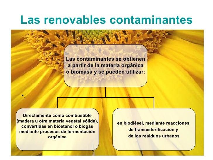 Las renovables contaminantes <ul><li>. </li></ul>Las contaminantes se obtienen a partir de la materia orgánica o biomasa y...