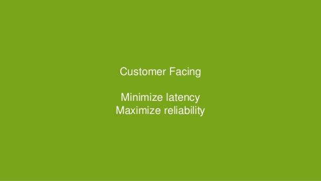 Customer Facing Minimize latency Maximize reliability