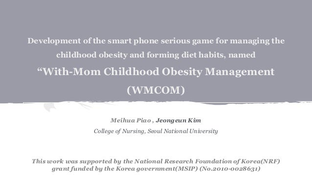 """Development of the smart phone serious game for managing the childhood obesity and forming diet habits, named """"With-Mom Ch..."""
