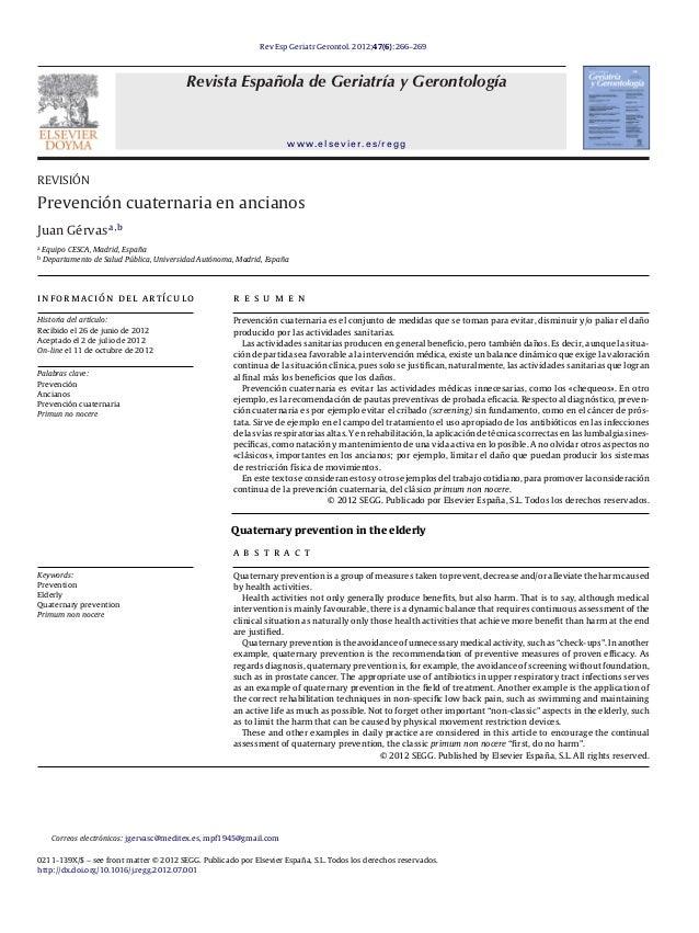 Rev Esp Geriatr Gerontol. 2012;47(6):266–269 Revista Española de Geriatría y Gerontología www.elsevier.es/regg REVISIÓN Pr...