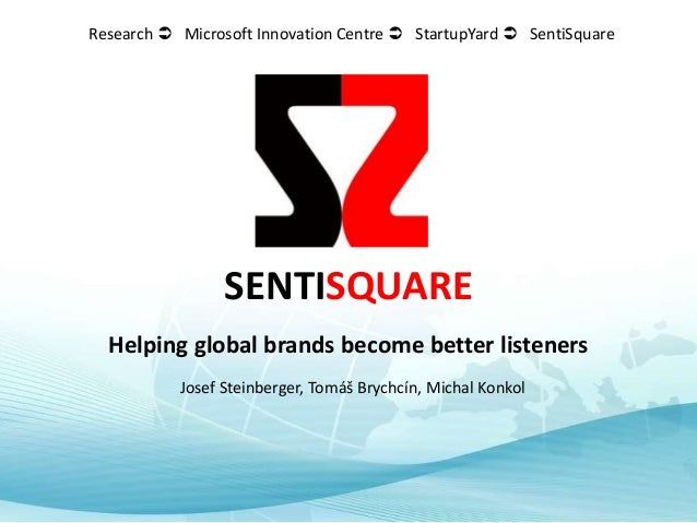 SENTISQUARE Helping global brands become better listeners Josef Steinberger, Tomáš Brychcín, Michal Konkol Research  Micr...