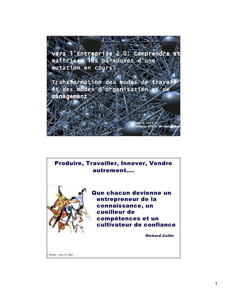 l'     Vers l'Entreprise 2.0: Comprendre et     maî                     d'     maîtriser les paradoxes d'une     mutation ...