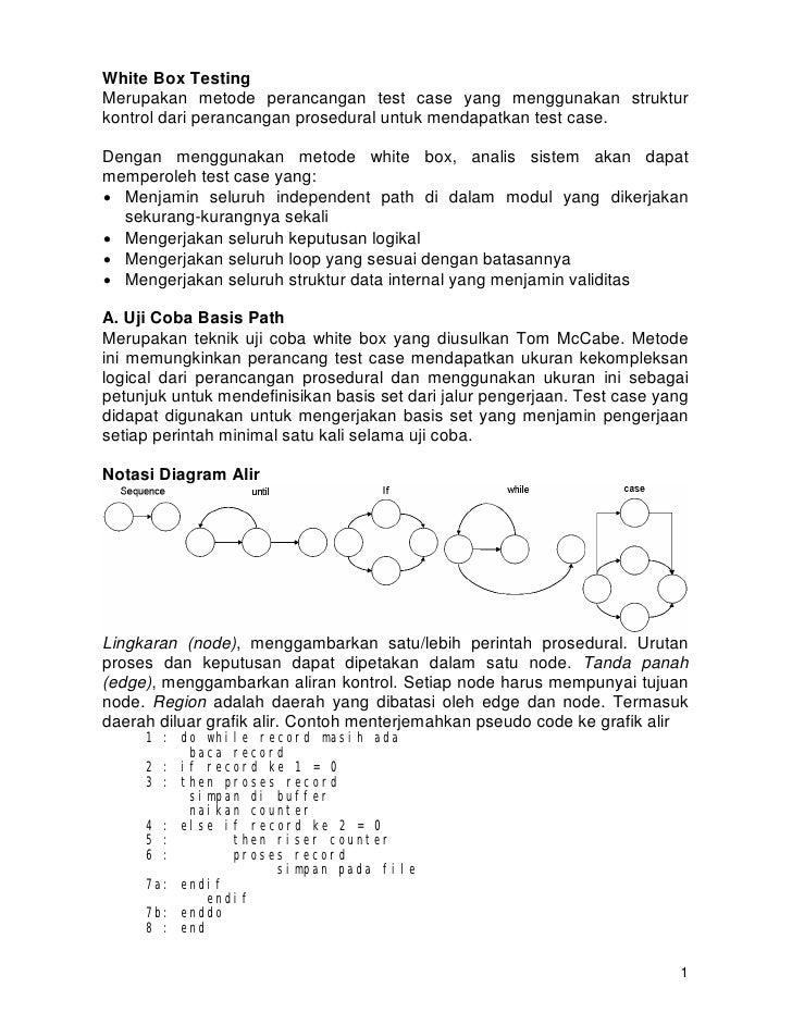 White Box Testing Merupakan metode perancangan test case yang menggunakan struktur kontrol dari perancangan prosedural unt...