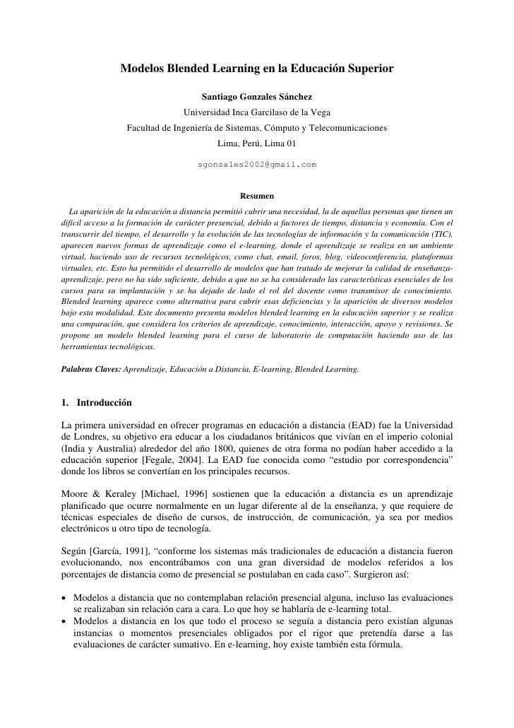Modelos Blended Learning en la Educación Superior                                          Santiago Gonzales Sánchez      ...