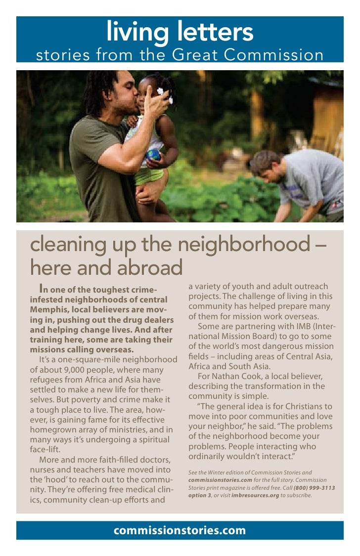 living letters  stories from the Great Commission     cleaning up the neighborhood – here and abroad   In one of the tough...