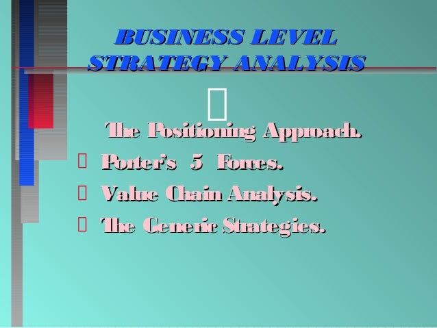 BUSINESS LEVEL STRATEGY ANALYSIS T P he ositioning Approach. P orter's 5 F orces. Value Chain Analysis. T Generic Strategi...